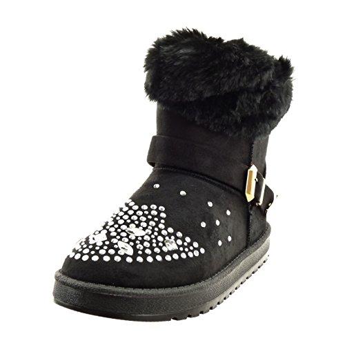 Sopily - Scarpe da Moda Stivaletti - Scarponcini alla caviglia donna strass pelliccia fibbia Tacco a blocco 2.5 CM - soletta sintetico - foderato di pelliccia - Nero