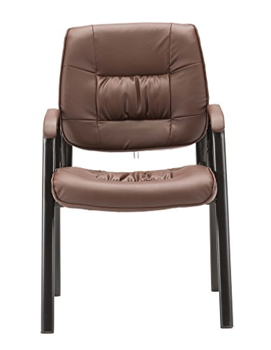 BTEXPERT Premium Leather Office Executive Chair Waiting Room Guest / Reception Side Conference Chair Brown