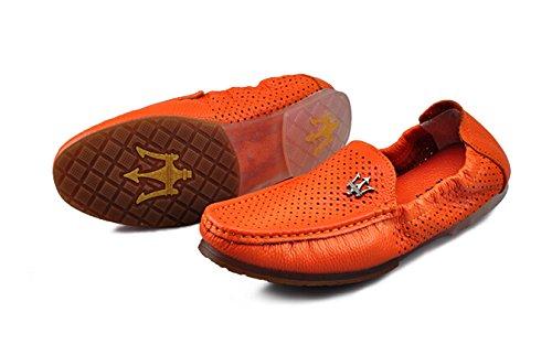 Happyshop (tm) Hommes En Cuir Véritable Ventilé Occasionnels Slip-on Mocassins Appartements Conduite Voitures Chaussures Quicheshoes Orange (évider)