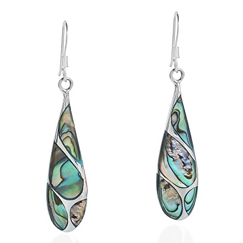 (Vintage Abalone Shell Streak Teardrop .925 Sterling Silver Dangle Earrings)