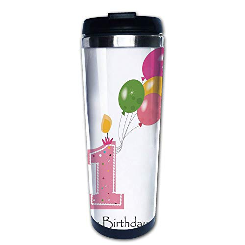 - Stainless Steel Insulated Coffee Travel Mug,Girl Toddler Party Candle with Colorful Balloons,Spill Proof Flip Lid Insulated Coffee cup Keeps Hot or Cold 13.6oz(400 ml) Customizable printing
