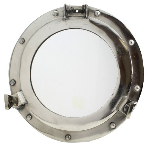 Plated Porthole Mirror - Nautical Ship Decor (Chrome Porthole Mirror)
