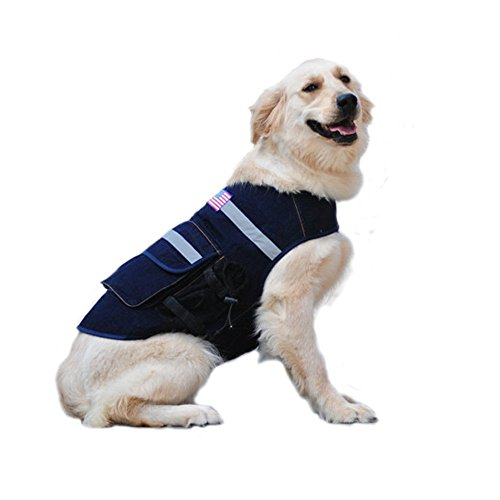 Border Collie Costumes (Ultrafun Dog Jean Vest with Pockets Reflective Jacket for Outdoor Walking Hiking (M))
