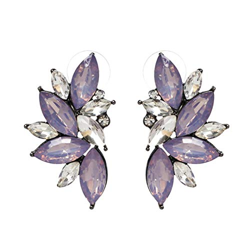 Gem Crystal Leaf Stud Earrings Party Earings Jewelry Gift E2205 - Plate Grill Crystal
