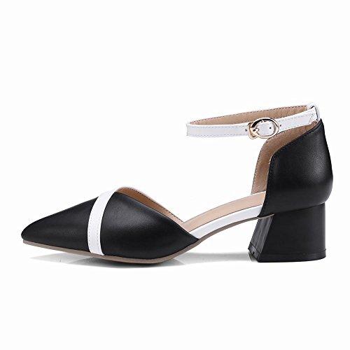 Shoes Damen Ankle Mee Sandalen Zweifarbig Blockabsatz Strap 1qCvw0T