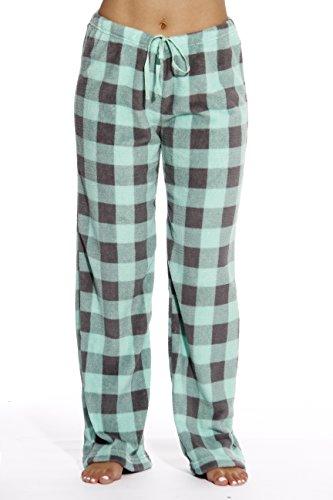 Just Love Women's Buffalo Plaid Plush Check Pajama Pants, Buffalo Plaid Mint / Charcoal, ()