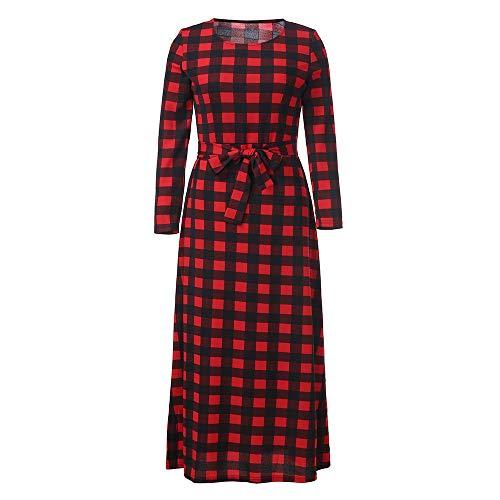 Price comparison product image Lightning Deals Plaid Dress, ZYooh Women Large Size Long Sleeve Bandage Plaid Maxi Party Dresses