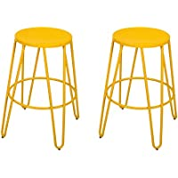 Asense 26-inch Metal Stack Stools (Set of Two) (Lemon Yellow)