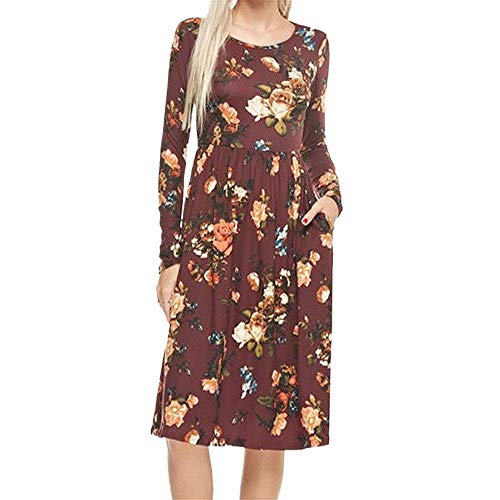 - Dressin Womens Dress Long Sleeve Floral Printed Dress Beach Party Dresses(4Colors,S-XL)