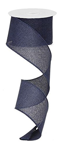 Navy Blue Solid Cross Royal Burlap Wired Edge Ribbon - 2.5