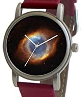 """""""Eye of God"""" Is the Hubble Image on the Dial of the Brushed Chrome Unisex Size Watch with a Red Leather Strap"""