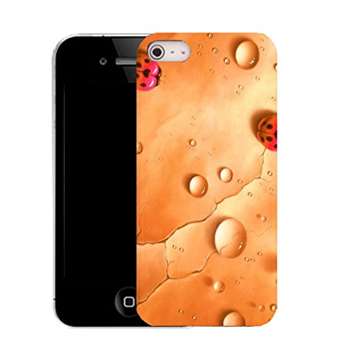 Mobile Case Mate IPhone 4s clip on Silicone Coque couverture case cover Pare-chocs + STYLET - orange rain ladybird pattern (SILICON)