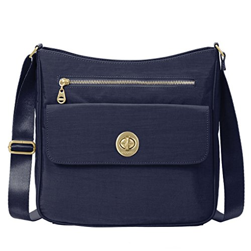 Baggallini Antalya Top Zip Flap Crossbody Bag Bundle with complimentary Travel Earphones (Navy)
