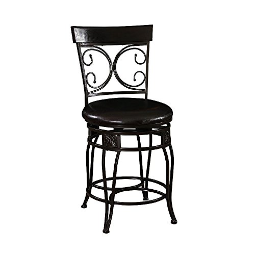Bar Stool. Comfortable Big And Tall Back To Back Scroll Counter Stool. Dark Black Finish And A Plush Black Upholstered Seat. Classic Design And Style. (Furniture Park Bedroom Lincoln)
