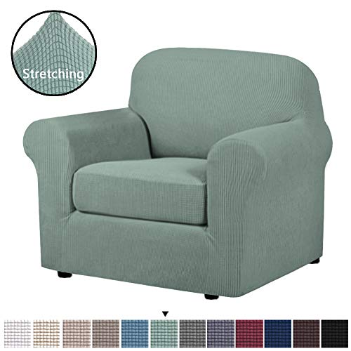 H.VERSAILTEX 2-Piece Spandex Stretch Sofa Slipcover for Chair, Anti-Slip Rich Lycra Knitted Jacquard Sofa Cover Machine Washable Furniture Protector, Solid Cyan, 1 Seater (Slipcovers For Living Room Chairs)