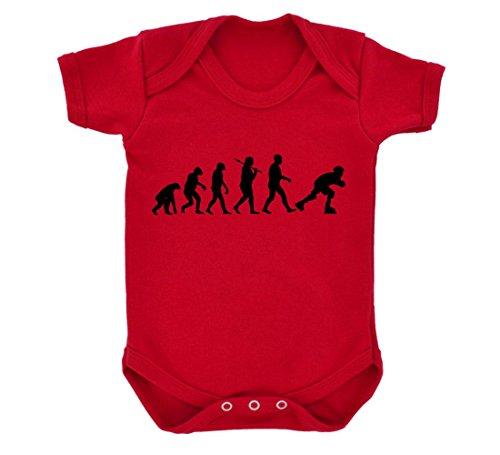 Evolution of Roller Skating Baby Bodysuit Red with Black Print