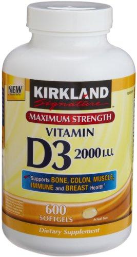 Kirkland Signature Maximum Strength Vitamin D3 2000 UI 600 Capsules de bouteilles,