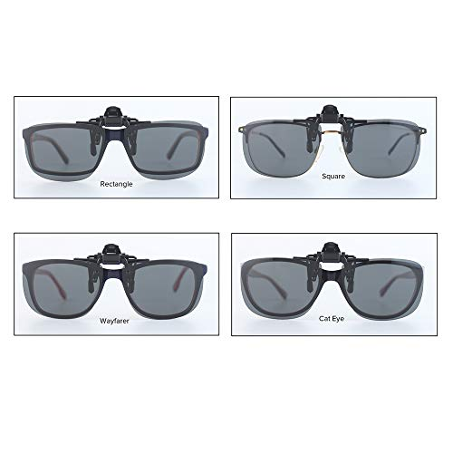 Wangly Polarized Unisex Clip On Flip Up Sunglasses Over Prescription And Reading Glasses Frames Suitable For Driving, Grey Lens