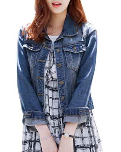 Manica Jeans Azzurro Chiaro Slim Donna Vintage Fit Lunga Elegante Giacca t7q5WvwaH