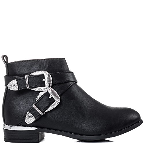 Similicuir Noir Duty Chaussures Bottines Plates Femmes Santiags Spylovebuy Aqwv7Tv
