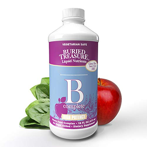 Buried Treasure B Complete High Potency B Complex Adrenal Support Liquid Supplement 30ml Contains 400 mcg Folate 16 oz