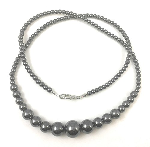 [Hematite Necklace 20 inches - Crab Claw Clasp - 5 Sizes of Polished Beads, 12mm, 10mm, 8mm and 4mm Bead Strand- Wear as a Necklace or Bracelet - Spinnaker] (Tiffany Blue Costume Jewelry)