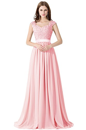 Grande Mousseline Florale d'honneur Demoiselle Rose de Longue Soire Dentelle Mariage Femme avec Maxi Ajoure Robe en Elgante Taille nRvZXxY