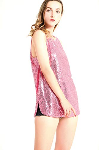 MS STYLE Women's Sleeveless Sparkle Shimmer Camisole Vest Sequin Tank Tops ()