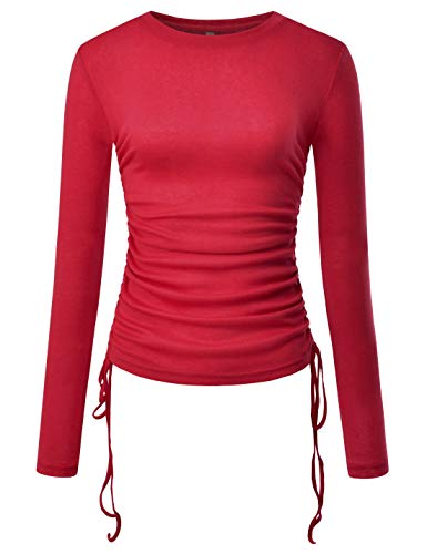 NEARKIN (NKNKWT93 Womens Long Sleeve Slim fit Side String Casual Tshirts RED US L(Tag Size XL)