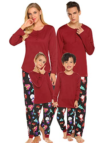 Ekouaer Christmas Pj for Women Matching Family Pajamas Sets Red Loungewear Button Front Blouse & Pants Holiday Suits ()