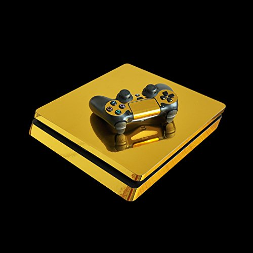 (eSeeking Whole Body Golden Vinyl Skin Decal Cover for PS4 Slim Console and 2PCS Controller Skins Stickers)