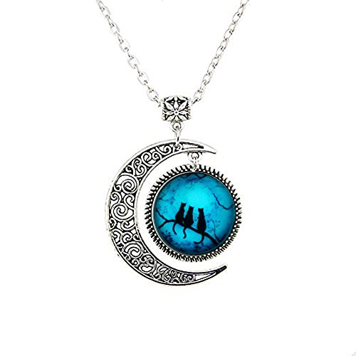 Halloween Pendant Charm (Luminous Cat Necklace Halloween Style Fashion Women Necklace Charm Pendant Jewelry for Girls Gift MOON necklace)
