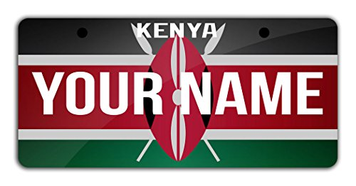 "BleuReign(TM Personalized Custom Name License Kenya Flag Plate Bicycle Bike Moped Golf Cart 3""x6"" Tag"