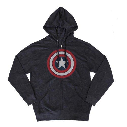 Marvel Captain America Distressed Logo Navy Blue Zip Up Hoodie Sweatshirt | XL]()