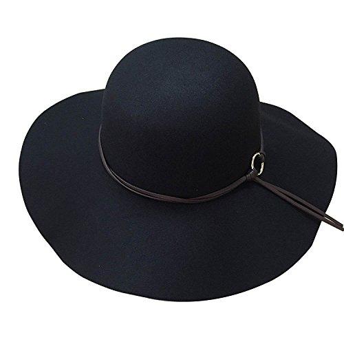 TASOON Womens Wide Brim Fedora Floppy Hats ND-1 ( Black )