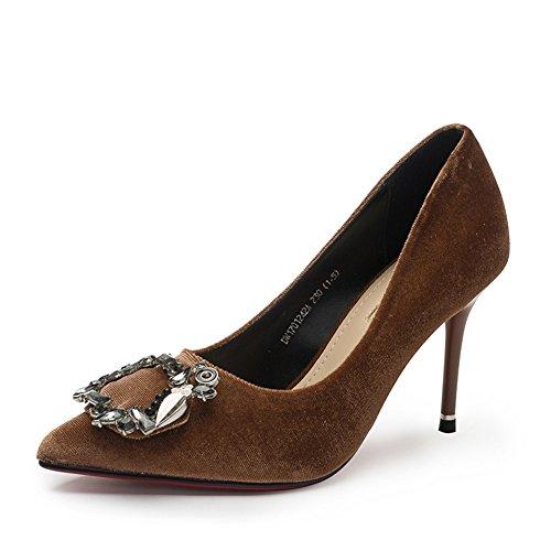 PUMPS Ladies, Heels und Heels,Spitze Toe Shoes-B Fußlänge=23.8CM(9.4Inch)