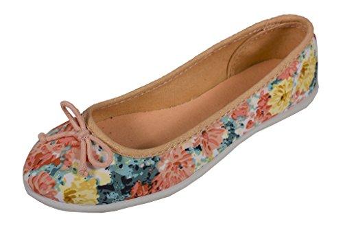 Stad Geclassificeerd Womens Jersey Boog Bloem Stof Ballet Flats In Perzik