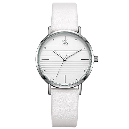 h for Ladies Simple Face Waterproof Round Case Clock with Leather Belt for Female (K8007-White) (Lady Leather Belt Watch)