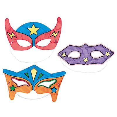 Color Your Own Superhero Masks 12 Pack