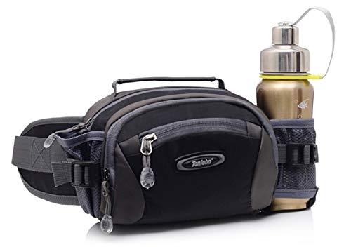 Selighting Lumbar Waist Pack Bag Waterproof Hiking Fanny Pack with Water Bottle Holder Running Hip Pack Bum Bag for Travel Trekking Dog Walking (Black, One Size)
