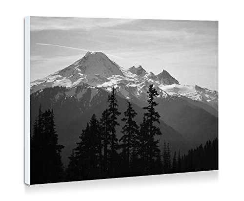 Mount Baker - Snoqualmie National Forest, Washington - Nature #12490 - Fine Art Print Wall Art Pictures Stretched For Home Decoration - Ready To Hang - 16x12 Inches - Black ()