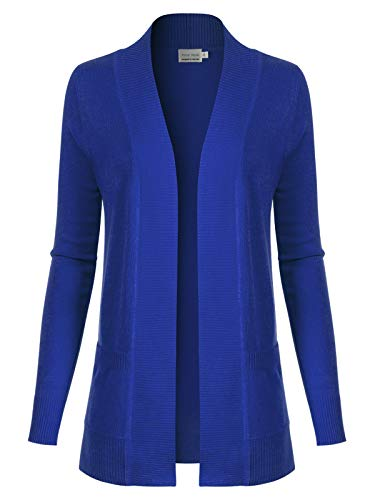 Instar Mode Women's Open Front Long Sleeve Classic Knit Cardigan , Icaw011 Royal Blue, Large