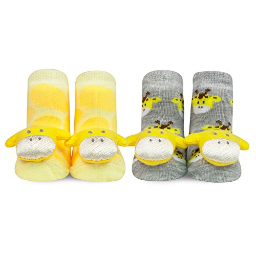Waddle 2 Pack Unisex Baby Socks Rattle Toys for Feet Giraffe Yellow 0-12 Month Booties ()
