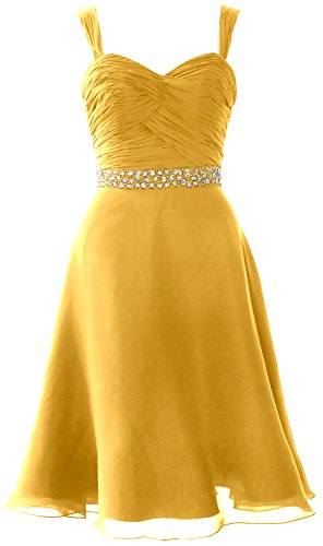 Straps MACloth Elegant Short Party Gown Formal Chiffon Dress Gold Wedding Cocktail TwA5Zqxw
