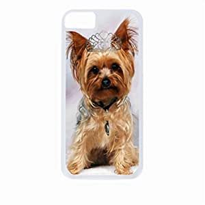 Yorkie with a Crown- Case for the Apple Iphone 4-4s Universal-Hard White Plastic Outer Shell with Inner Soft Black Rubber Lining