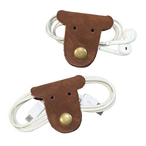 (Hide & Drink Dog Shaped Cord Keeper (Cord Clam) 2-Pack Handmade Swayze Suede)