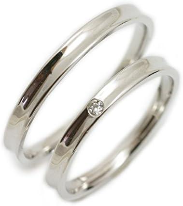 ペアリング K10 ホワイトゴールド リング マリッジリング 2本セット 結婚指輪 レディース ダイヤ付き 日本製