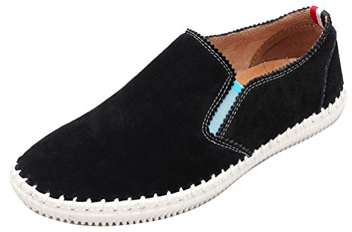 Abby 9988-1 New Mens Mocassini In Pelle Casual Benessere Slip-on Smart Driving Shoes Nero
