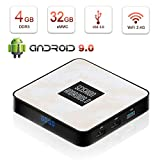Android 9.0 TV Box, HAOSIHD RX4B Android TV Box with 4GB RAM 32GB ROM RK3328 Quad-core, Support 4K Full HD 2.4 GHz WiFi BT 4.0 Smart TV Box