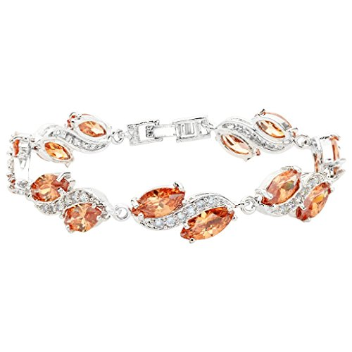 EleQueen Women's Silver-tone Full Cubic Zirconia Marquise Leaf Roman Tennis Bracelet Topaz Color